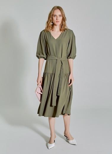 People By Fabrika V Yakalı Bağlamalı Elbise Haki